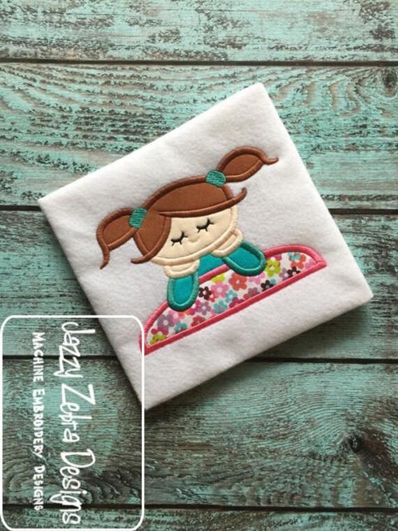 Sleepover Girl appliqué embroidery design - sleepover appliqué design - 1st sleepover appliqué design - girl appliqué design - sleepover