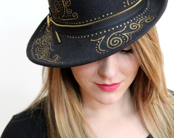 Black Wool Felt Hat with Hand Painted Gold Pattern, Zipper Band and Button Detail
