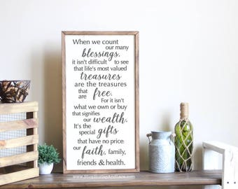 When we count our many blessings, count our blessings, family rules, in this family, family sign, home and living, home decor, wall decor