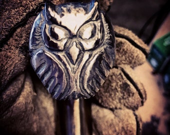 Railroad Spike Walking Cane with Owl