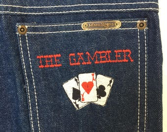 """Rare 80's Deadstock Kenny Rogers Western Collection by Karmen Denim Jeans with an Homage to """"The Gambler"""" Embroidered on the Back Pocket. XS"""