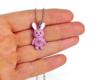 Children necklace bunny kids necklace girls jewelry pink silver rabbit pendant necklace animal jewelry kids jewelry girls necklace girl gift