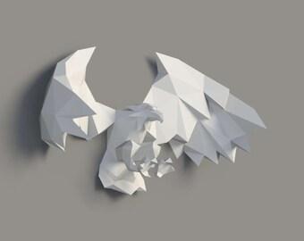 Eagle, Eagle paper, Eagle lowpoly, Paper Trophy Eagle, wall decoration, Instant Pdf download, Paper Mask, DIY template