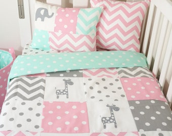 Pink, grey and mint giraffe patchwork nursery items (Mint spot quilt backing)