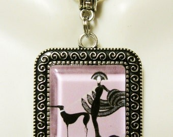 Art deco greyhound pendant with chain - DAP02-028