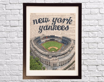 New York Yankees Dictionary Art Print - Yankee Stadium, New York City - Print on Vintage Dictionary Paper - Baseball Art - Gift For Him