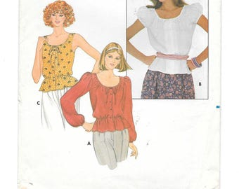 1970s Boho BLOUSE ~ Vintage Sewing Pattern ~ Sleeveless ~ Short ~ Long Sleeves ~ Loose-fitting ~ Drawstring Neckline ~ Size 12 Bust 34 UNCUT