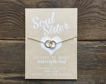 Soul Sisters Card ~ Soul Sisters Gift ~ Soul Sister Charm Necklace ~ Ring Charm Necklace