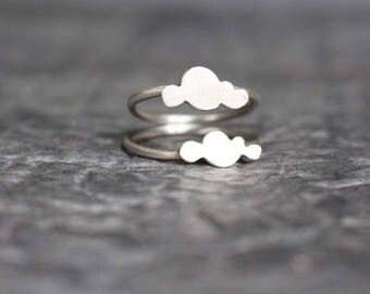 Cloud ring, sterling silver double cloud ring, weather ring, minimalist ring, modern ring