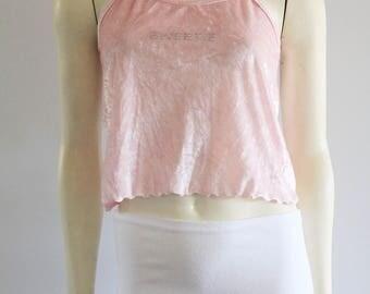 90's Vintage Pastel Pink Crushed Velvet Jewel Encrusted  'Sweetie' Spaghetti Strap Top