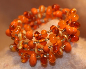 Fun Handmade Multi Orange Memory Wire Bracelet