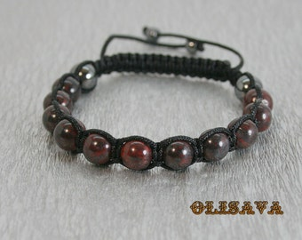 Beautiful handmade MEN Shamballa Bracelet with 10 mm  Bloodstone Beads , stone bracelet , Bloodstone Bracelet