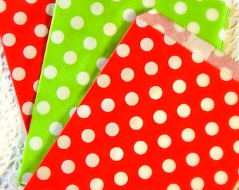 Red And Green Polka A Dot Paper Bags. Christmas Paper Bag. Treat Bags. Favor Bags. Gift Bags. Christmas Gift Wrap. Junk Journal Supply.
