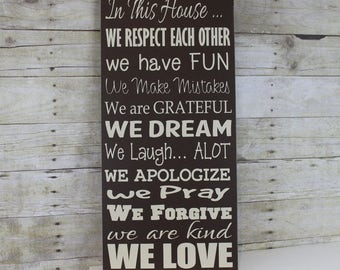 Family Rules - House  Rules - In this House we do...Rules sign - Housewarming Gift - New House Gift - Anniversary Gift - Unique Gift idea