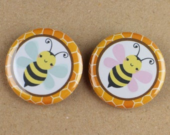 "30 - 1.25"" pin buttons,bumble bee gender reveal button pin,team girl team boy button pin,pink team blue team,"