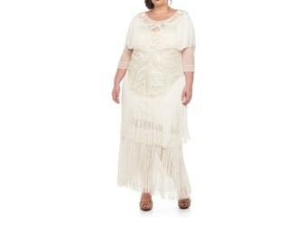 Plus Size US18 UK22 AUS22 EU50 Wedding Gown Cream Glam Prom Maxi Dress with Sleeves 20s Great Gatsby Bridal Shower Beach Wedding Reception