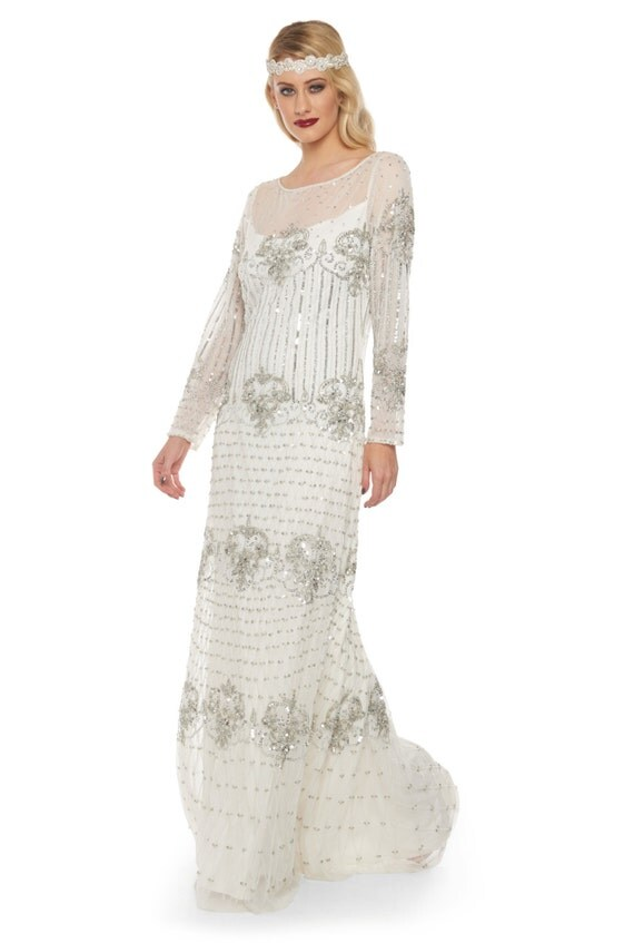 Plus Size White Silver Wedding Gown Prom Maxi Dress With