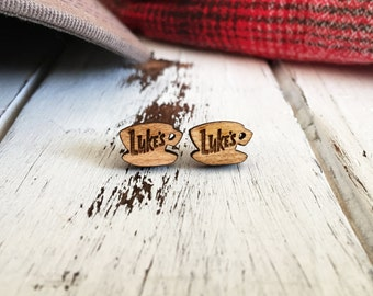 Gilmore Girls Earrings - Luke's Diner Earrings - Gilmore Girls Jewelry - Coffee Cup Earrings - Laser Engraved Earrings - Hypoallergenic