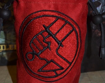 Dice Bag Hellboy Embroidery on Red Suede