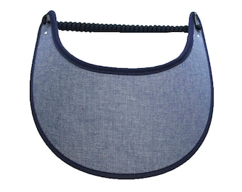 Chambray visor with fabric trimmed edges.
