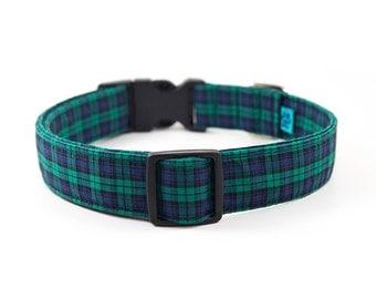 Plaid Dog Collar // S-XL // Adjustable Length - Fabric: Teal and Navy Tartan Plaid