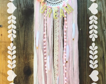 Enchanted Fairytale Collection // Floral Light Pink, Cream, & Gold Shabby Chic Boho Gypsy Glitter Feather Lace Crochet Doily Dreamcatcher