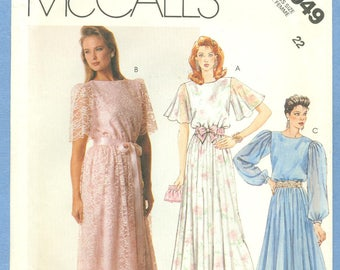 1987 Misses' Pullover Summer Dress or Gown with Full Skirt Waist Uncut Factory Fold Size 22 - Vintage McCall's Sewing Pattern 3049