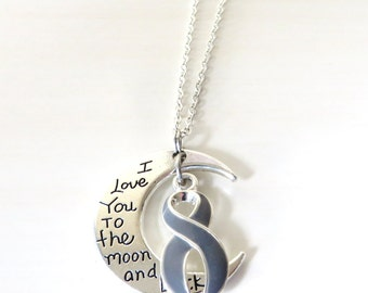 Grey Awareness Ribbon I Love You To the Moon and Back Necklace You Select Chain Material and Length