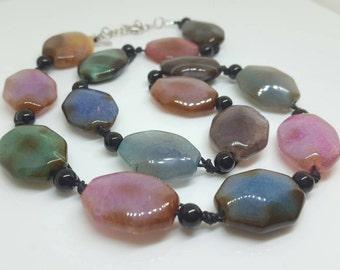 Multi-color Agate Beaded Necklace.  Gift idea.  Gift for Her.  Beaded Jewelry.  Necklace.  Beaded Necklace.