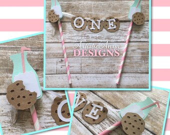 Milk and Cookies Birthday Age Cake Bunting Topper - Smash Cake - Milk & Cookies Party -  Mint Turquoise Pink White Brown