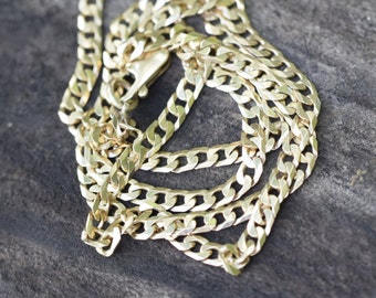 Heavy gold chain, mens necklace, solid yellow gold 9ct 9K 9 carat, curb link chain, flat wide chain, Italian handmade, 24 inch long, 60 cm