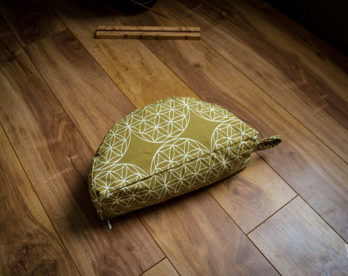Crescent meditation cushion Flower of life kaki travel half moon zafu buckwheat pillow by Creations Mariposa C-FVK