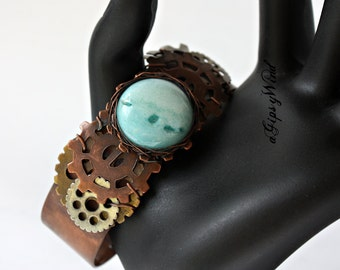 Steampunk Gear Bracelet with wire wrapped quartz cabochon