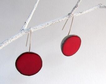 Red ceramic earrings , sterling silver wire, red dangle earrings, geometric earrings
