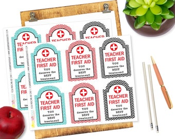 Printable Teacher Appreciation Gift Tags, Teacher FIRST AID Kit Tags, Back to School Teacher Gift Tags by SUNSHINETULIPDESIGN
