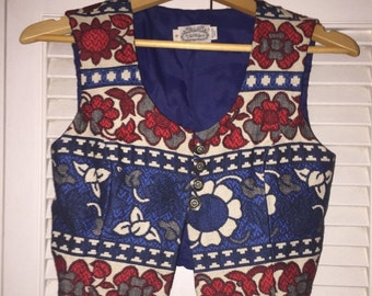 Red White and Blue Floral Vest