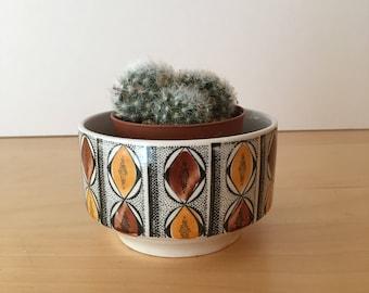 Vintage Sugar Bowl- Open Planter- Orange and Brown Design