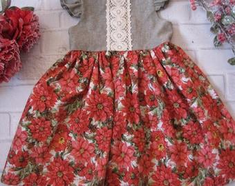 Girls Christmas Dress, Vintage Style Christmas Dress, Linen Lace, Girls Holiday Dress, Vintage Style Dress, Flutter Sleeve Holiday Dress