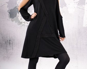 Little Black Dress, extravagant tunic, plus size tunic, mini dress, long sleeves with holes, bare shoulders dress -UrbanMood UM-064-CO