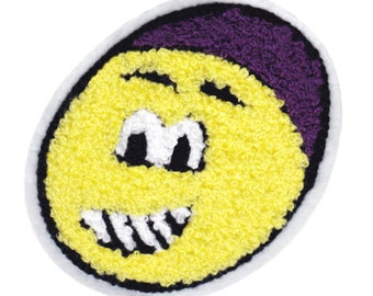 Cute Vintage Style Chenille Smiley Face Smile Patch Badge 10.5cm