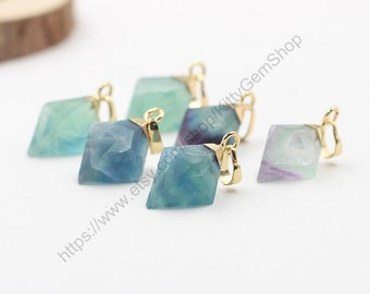 Diamond Fluorite Pendants -- With Electroplated Gold Edge Charms Wholesale Supplies YHA-100,MHA