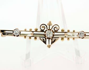14K Diamond Brooch