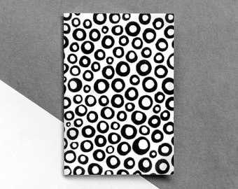 A6 Small Notebook | Blank Lines Squares Dots Notepad | Recycled Paper Diary | Stationery | Notes | Eco-friendly | Black and White | B&W Book
