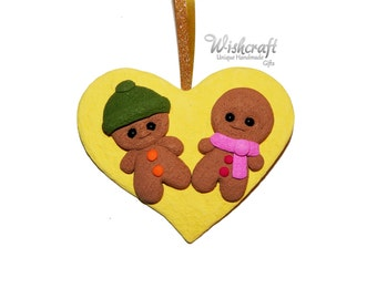 gingerbread couple christmas ornament,polymer clay,gingerbread man christmas decoration, gingerbread man, clay