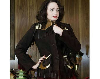 50s Leather Jacket | 50s Jacket | 50s Western Jacket | 1950s Jacket | Cowhide Jacket | Fringe Jacket | 50s Fringe Jacket | 50s Brown Jacket