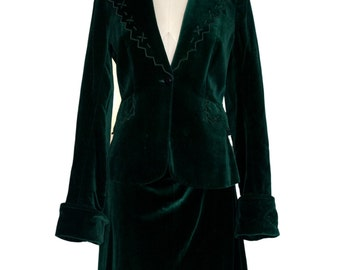 Original Vintage 1940's Velvet Green Skirt Suit By Stephen Marks Size M (Approx. Size 10)
