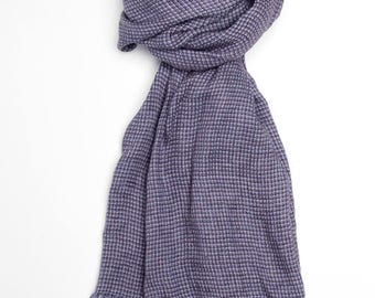 Purple 100% linen scarf, purple linen scarf, flax scarf, spring scarf, linen shawl, purple shawl, linen wrap, purple scarf, unisex scarf