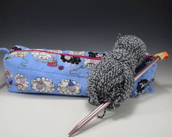 Knitting needle case | Knitting Bag | Crochet bag | Quilted zippered Bag