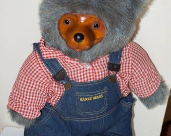 "Robert Raikes ""Huckle"" Gray Teddy Bear 20"" 1985 Signed Numbered"