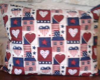 Patriotic Decor- Memorial Day - Fourth of July- Independence Day - Decorative Pillows - Hearts - Stars&Stripes - Red - White -  Blue